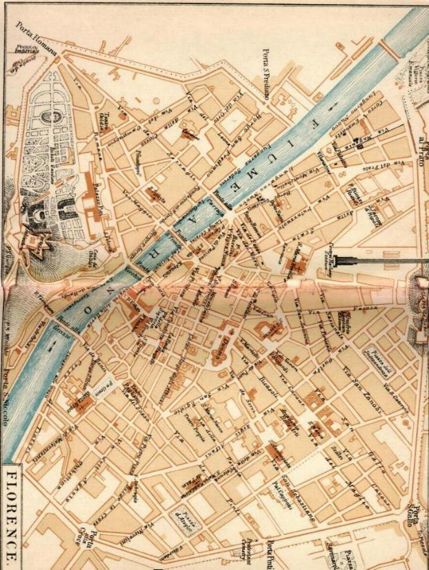This map shows Florence as it was in the earlier nineteenth century,